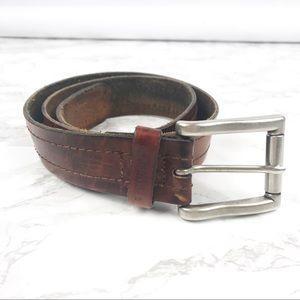 ed17abcf4 Ted Baker Brown Burnished Genuine Leather Belt